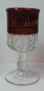 ThisAntique Souvenir E. H. BRENNAN Cranberry Ruby Flash Cut Glass 4 ¼