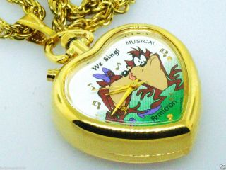 Tunes Musical Tazmanian Devil She Devil Heart Necklace Watch