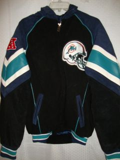NFL football Miami Dolphins Suede Leather Jacket size S jersey nice