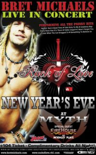 Bret Michaels Firehouse 2007 Concert Tour Poster Poison