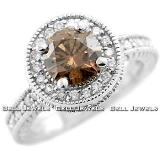 91CT COGNAC CHOCOLATE BROWN DIAMOND ENGAGEMENT RING 14K WHITE GOLD