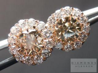 32cts Fancy Brown Diamond Halo Earrings 18K Rose Gold R4503 Diamonds
