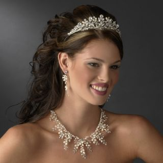 Pearl Crystal Bridal Necklace Earrings Jewelry Set Beach Bridal