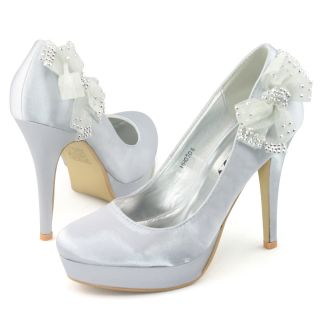 Satin Heels Flower Bow Bridal Pumps Platform Wedding Shoes