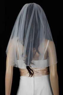 Bridal Veil Wedding 1 Tier Ivory Shoulder Real Crystal Beaded Trim