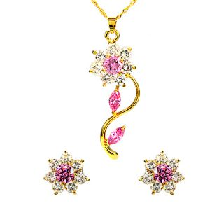 Wedding Jewelry Set 18K Yellow Gold Plated Pink Amethyst Pendant