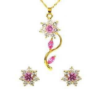 Wedding Jewelry Set 18K Yellow Gold Plated Pink Amethyst Pendant