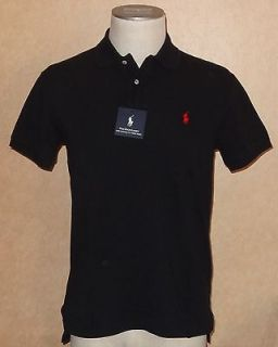 nwt ralph lauren custom fit solid black polo shirt l one day shipping