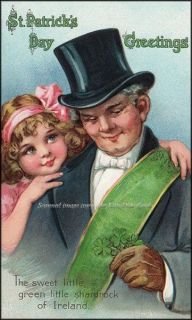 Brundage St Patricks Day Girl Repro Greeting Card Hugs Grandfather in