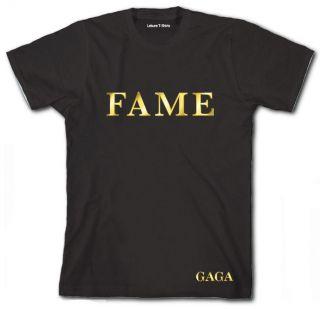 LADY GAGA FAME T SHIRT Haunting Kinky Fame Perfume logo Gold double