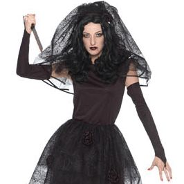 Dark Bride Black Wedding Dress Woman Lady Halloween Costume Adult 2 4