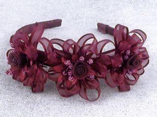 Girls Burgundy Ribbon 3 Flower Headband Wedding Flower Girl