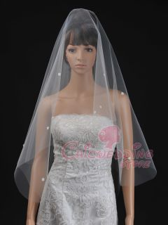 Ivory Flower Pearl Fingertip Length Waltz Bridal Wedding Veil