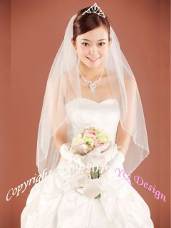 wedding bridal veil 1t fingertip cut edge with beading ivory best