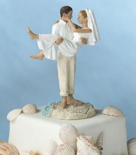 Groom Carrying Bride Beach Wedding Cake Toppers Topper