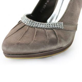 diamantes bridal mink ruched satin platform heels pumps shoes US 9