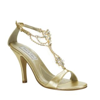 Gold Metallic Rhinestone Accents High Heel Bridal Wedding Shoes