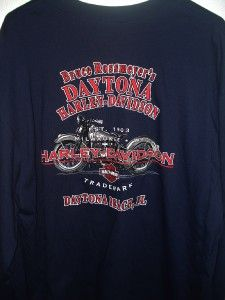 Mens Harley Davidson Navy Eagle Snake Bar Shield Long Sleeve T Shirt