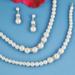 Bridal Jewelry Wedding White Pearl Necklace Earrings Bracelet 4 Set