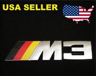 BMW M3 Badge German Flag Emblem E30 E36 E46 E21 E90 Chrome BRY