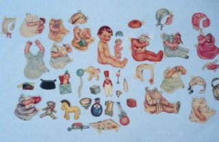 Circa 1940s Paper Doll Set Baby, Furniture, lots of Clothes & Toys