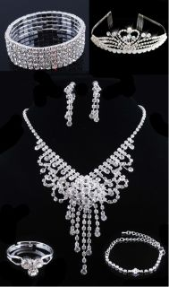 Bridal Prom Crystal Rhinestone Necklace Earring Bracelet Crown Set