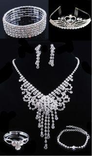 Bridal Prom Crystal Rhinestone Necklace Earring Bracelet Crown Set