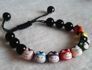 Black Agate Bracelets Unique Hand Made Lovely Lucky Cat Ceramics 9 Cat