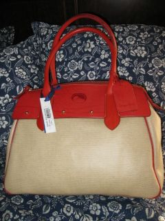 Dooney Bourke Extra Large Red Leather Wilson Panama Bag Duffle Travel