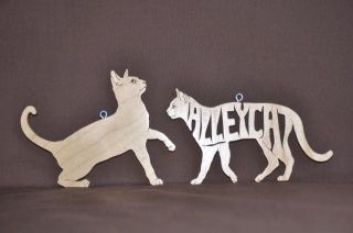 Cat Pair of Toy Wooden Christmas Ornaments Gift Tags