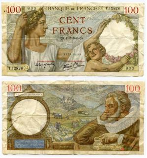 1940 France 100 Francs Banknote P94 Woman Child Maximilien de Bethune
