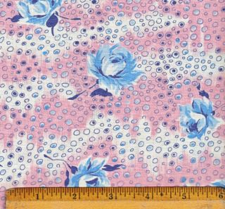 Vtg Feedsack 43x36 Blue Roses on Bubbles on White and Pink BKG