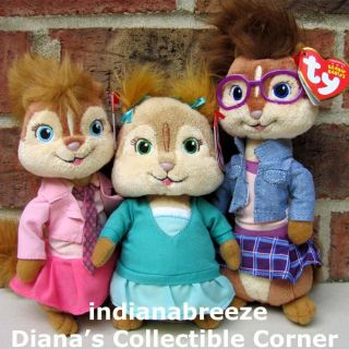 BRITTANY, ELEANOR & JEANETTE Alvin Chipmunks Chipettes Ty Beanie Baby