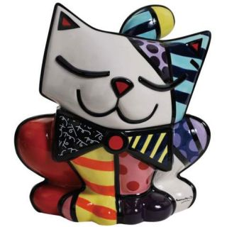 Romero Britto Kitty Cat Colorful Ceramic Cookie Jar by Westland New