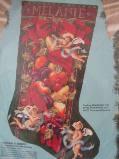Bucilla Needlepoint Stocking Kit Christmas Elegance 60704 Angels