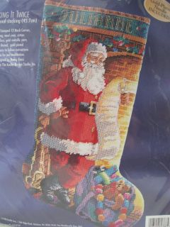 Bucilla Needlepoint Stocking Kit Checking It Twice Christmas 60766 New