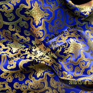 satin brocade fabric blue with rich flower chinese brocade collection