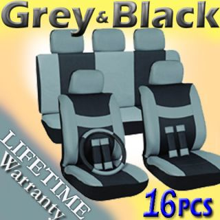 Black Complete For PickUp Trucks 16 PC Car Seat Cover Set Bucket Bench