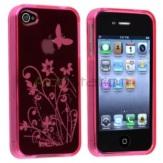 Clear Hot Pink Flower Butterfly TPU Rubber Soft Case Cover For iPhone