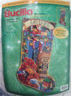 Bucilla Needlepoint Christmas Stocking Kit All Hearts Come Home Nancy