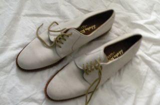 Salvatore Ferragamo Shadow White Bucks Oxfords Shoes 9 5 B