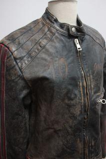 Vtg 80s Brogden Worn Motorcycle Racing Leather Jacket