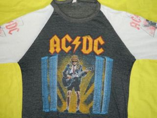 1986 AC/DC VINTAGE TOUR JERSEY PAPER THIN + SOFT T SHIRT WHO MADE