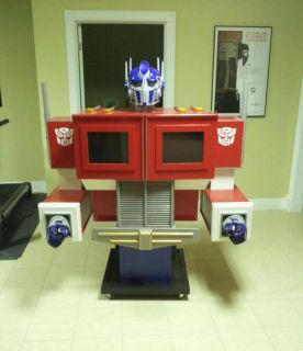 Optimus Prime Statue and Storage Cabinet