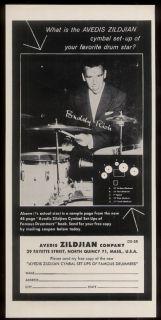 1959 Buddy Rich Photo Zildjian Cymbals Vintage Print Ad