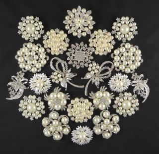 22 CRYSTAL Brooches Pins Clear Wedding Bouquet Rhinestone Wholesale