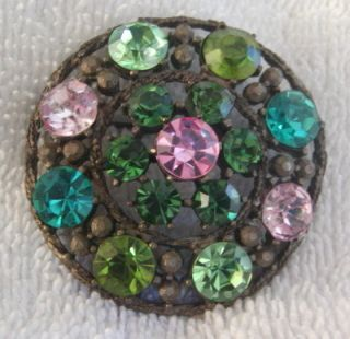 Vintage Weiss Signed Multi Colored Pave Rhinestone Brooch Pin