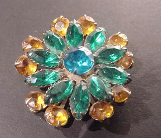 Lee Large Blue Green Topaz Floral Rhinestone Brooch Pin Signed