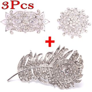 3pcs Different Shaped Rhinestone Brooch Pins