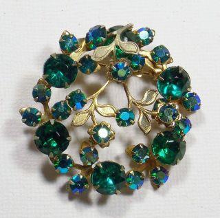Vintage Green Aurora Borealis Rhinestone Brooch Pin